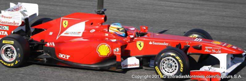Fernando Alonso en Ferrari, entrenmientos Montmelo 2011l